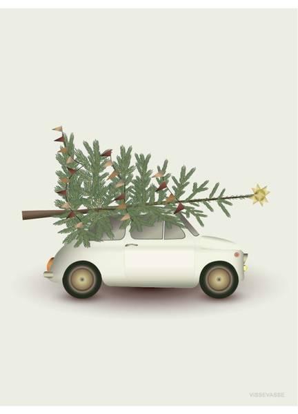 Bilde av PLAKAT - Christmas Tree - Little Car - Vissevasse